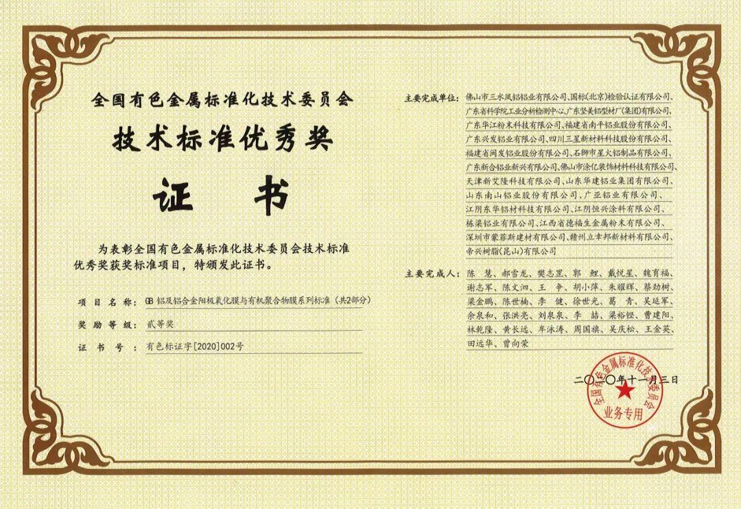 """栋梁铝业参与起草的技术标准荣获""""技术标准优秀奖"""""""