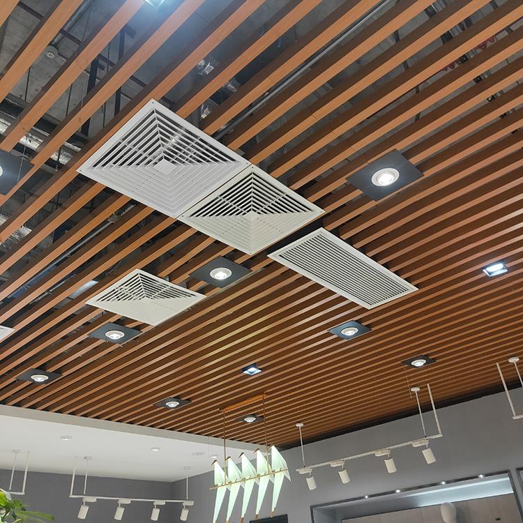 商场木色铝天花吊顶 木纹铝方通
