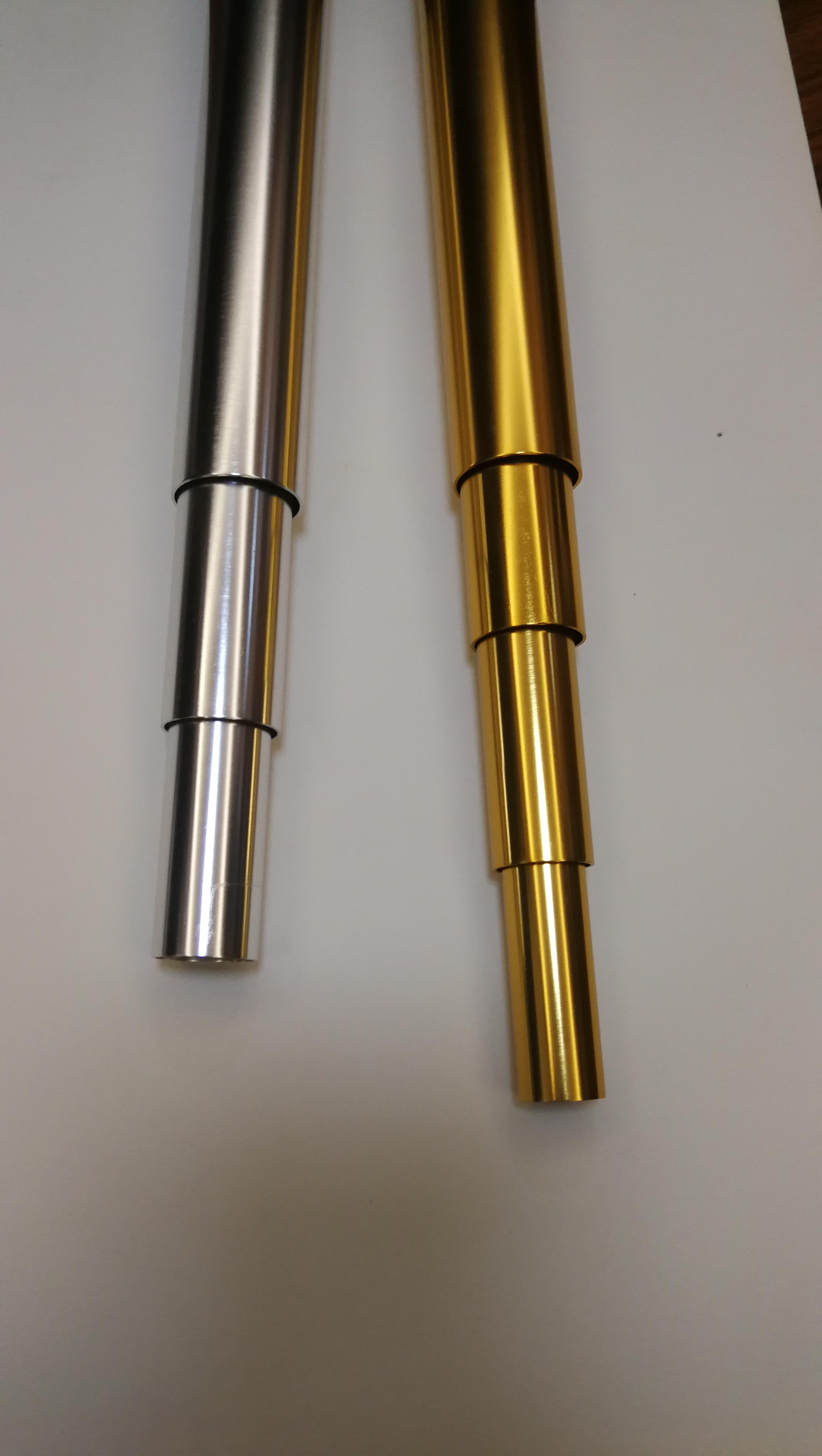 圆管铝管伸缩套管拉杆管氧化金色银